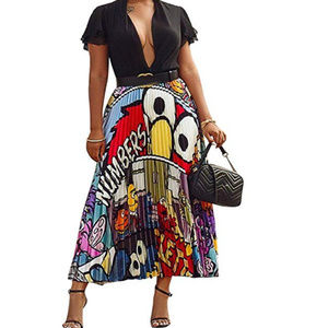 Pleated Skirt for Women Fashion Cartoon Print A-Li